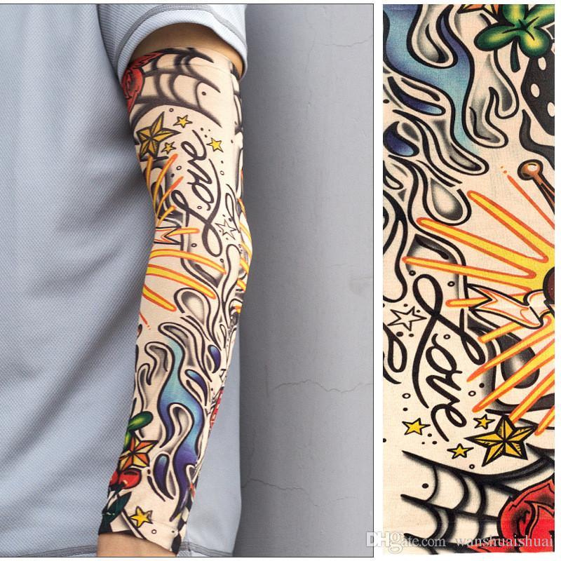 Açık spor bisiklet 3D dövme baskılı kol kollu güneş koruma bisiklet Basketbol sıkıştırma kol ısıtıcıları Biniyordu manşet kollu