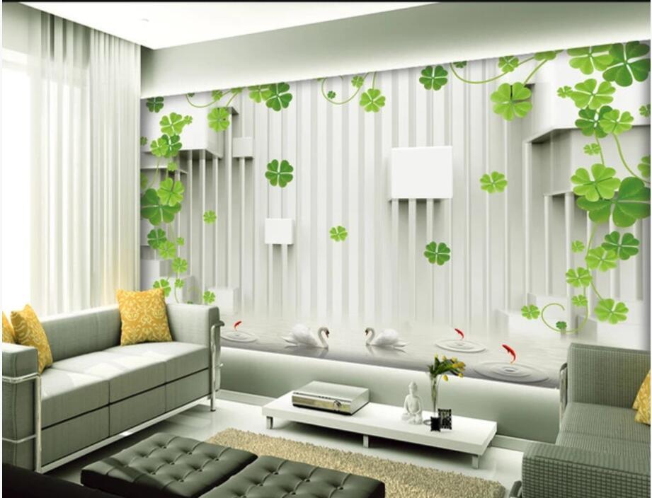 3D odası duvar kağıdı duvar sticker özel fotoğraf 3D stereo dört yapraklı yonca uzay genişleme TV arka plan duvar resimleri duvarlara 3 d için duvar kağıdı