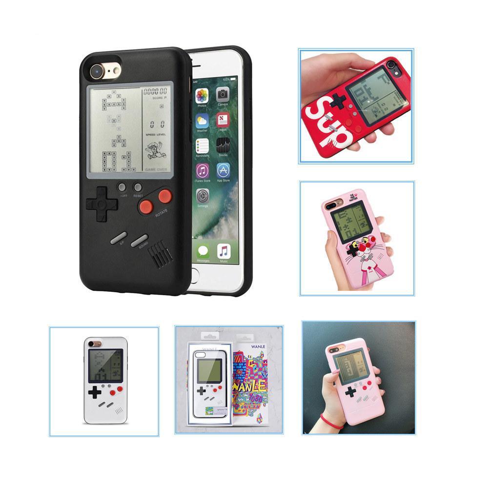 Tetris Game Player Cell Phone Cover Case Mini Consoles de jeux portables pour Ipone6 6S 7 8 8Plus X XS Max Xr 11 Pro Max cas de protection