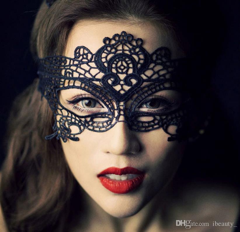 1 PZ Nero Donne Sexy Maschera per Gli Occhi di Pizzo Maschere per il Partito di Travestimento di Halloween Costumi Veneziani Maschera di Carnevale per Anonymous Mard