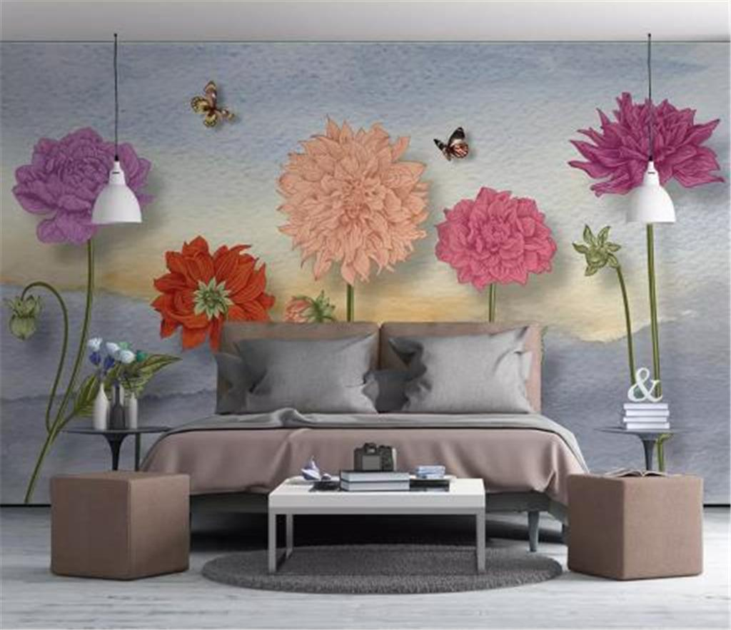 3d Wallpaper Nordic Small Fresh Hand Painted Watercolor Cartoon Flowers Living Room Bedroom Background Wall Decoration Mural Wallpaper