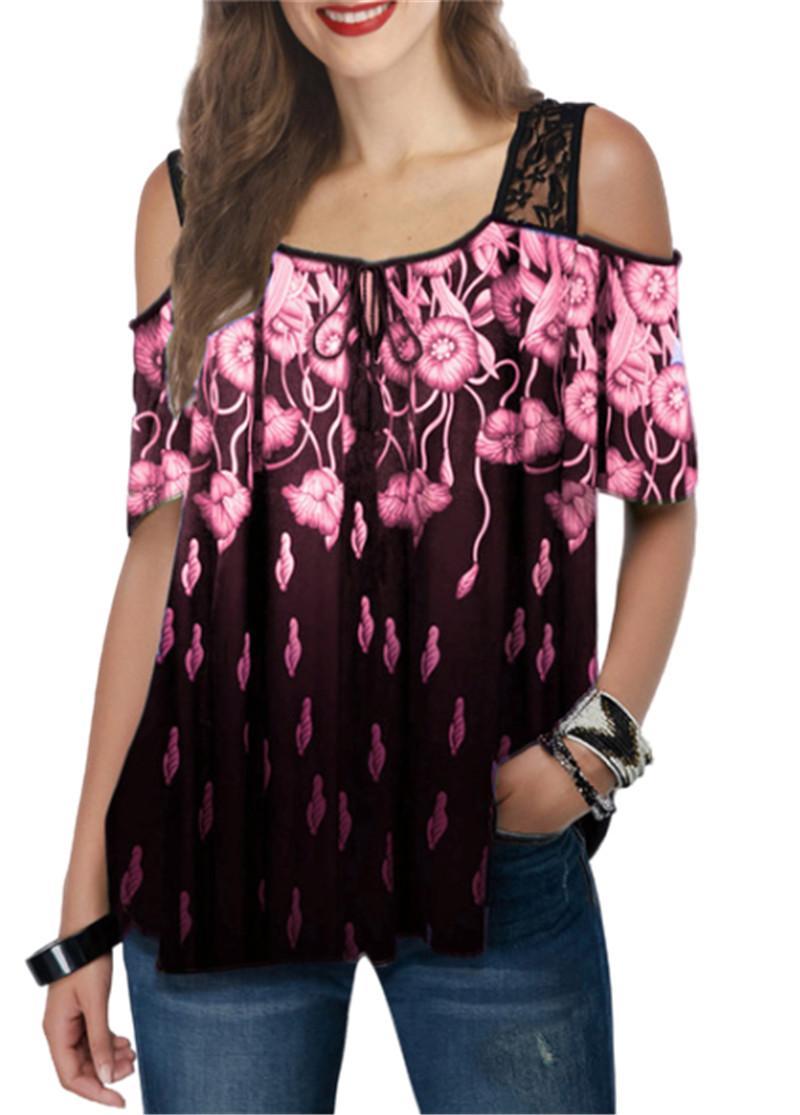 Artı boyutu Dantel Hollow Out Kol Kadınlar Moda Baskı T Shirt Yeni Kısa Kollu Tee Gömlek Kadın Casual Gevşek Bayanlar T Shirts