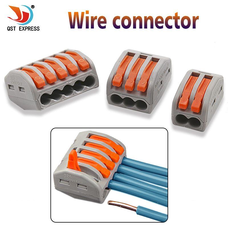 Juegos de herramienta de mano 10pcs reutilizable caliente Venta Nueva útil 2/3/5 manera reutilizable muelle de la palanca de bloque de terminales del conector del cable de alambre eléctrico