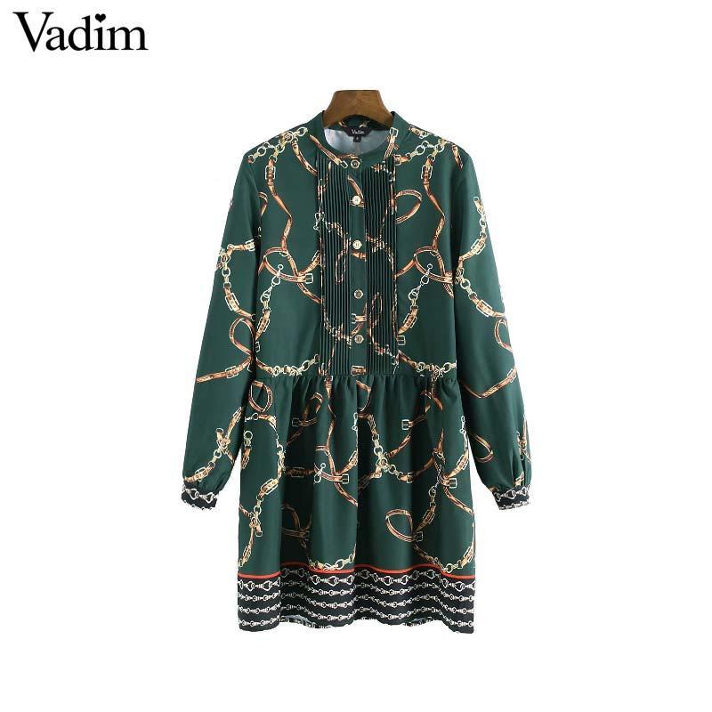 Venta al por mayor mujeres elegantes cadenas patrón vestido plisado manga larga cintura elástica vintage femenino vestido plisado ocasional vestidos QA788