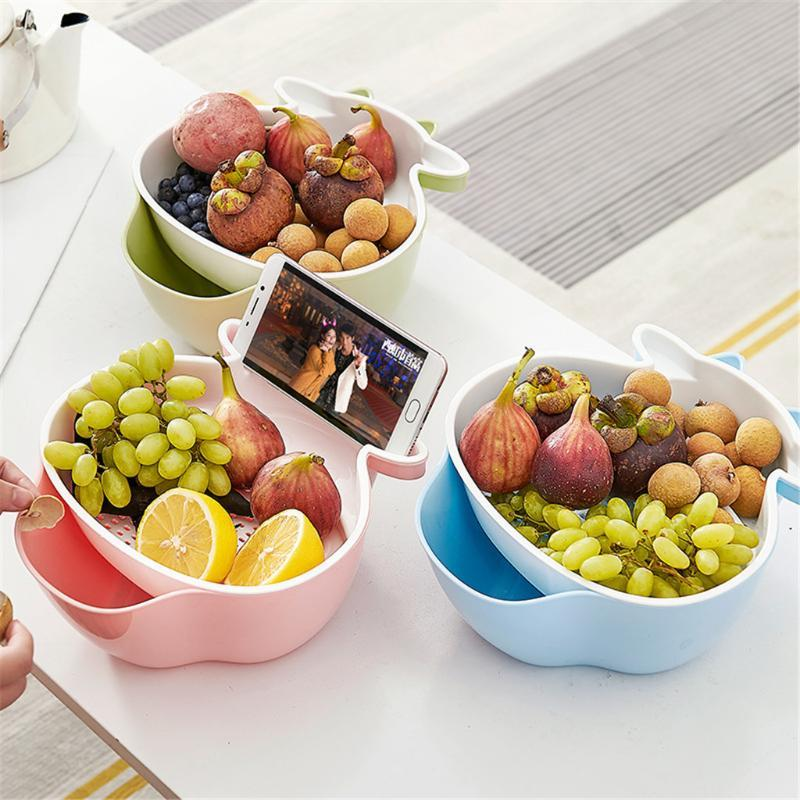 Multifuncional Duplo cesta projeto separação da camada PP lavar material de cestas de frutas legumes Fruit cobertores para casa
