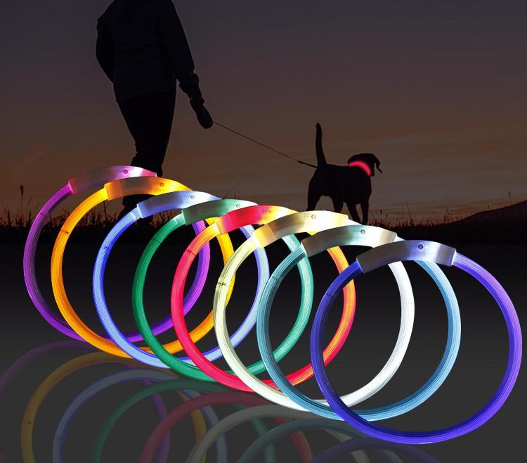 أحدث الذكية LED الحيوانات الأليفة مضيئة طوق USB شحن طوق تيدي مضيئة الرقبة كم الصغيرة والمتوسطة الكلاب الكبيرة القطط مستلزمات الحيوانات الأليفة