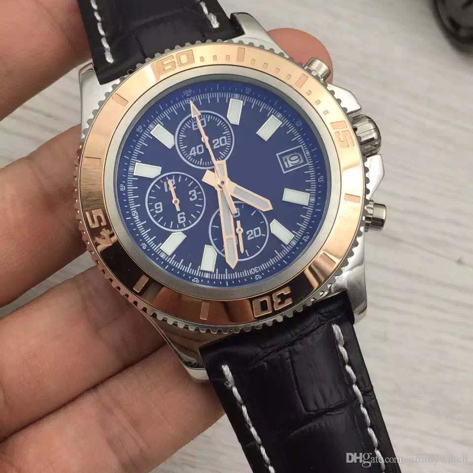 Gratuit navire extérieur homme Montre Superocean Chronograph 1884 Chronomat Colt Quartz or Bezel Aerospace cadran noir avec bracelet en cuir Montres Hommes