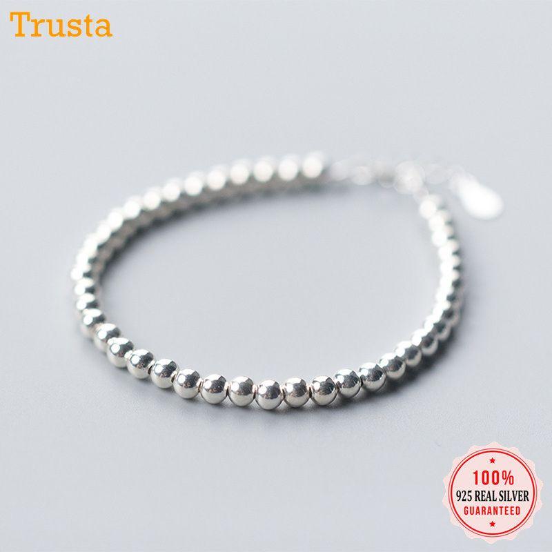 Trustdavis 100% 925 Solide En Argent Sterling Stylé De Mode 0.4cm Perles Bracelet Pulseras 15.8cm Pour Femmes Fille Adolescent Bijoux Da155 J190719