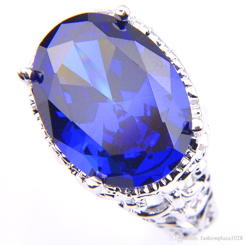 قمة بيع السيدات البيضاوي الأزرق توباز خواتم 925 الفضة مطلي خاتم الخطوبة 12 * 16MM