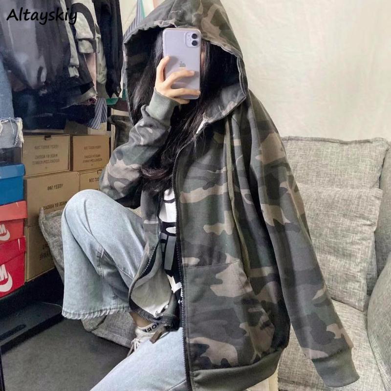 Temel ceketler Kadın Moda Kamuflaj Bahar Fermuar Gevşek Kapüşonlular Boş İnce Femme Coat Çift Şık Yeni Cepler Streetwear