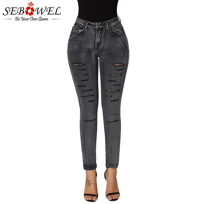 SEBOWEL High Waist Skinny Pencil Jeans for Woman Faded Denim Wash Leg Ripped Holes Long Pants Female Strentch Black Blue Jeans