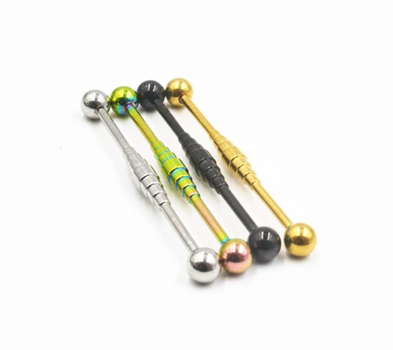 Lot50pcs 14g Surgical Steel Industrial Ear Scaffold Barbells Upper Cartilage Helix Bar Body Jewelry Ear Piercing Earring NEW