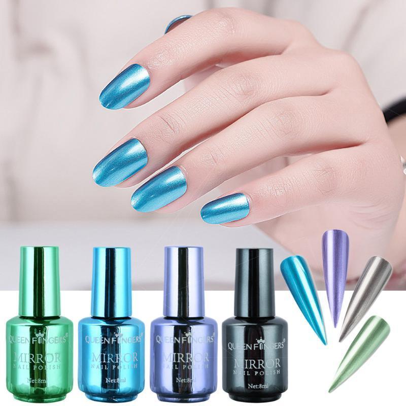 4 Adet Kaplama Metalik Oje Seti Sihirli Yarı Ayna Etkisi tırnak cilası For All Manikür Sanat Vernis Yarı Daimi UV