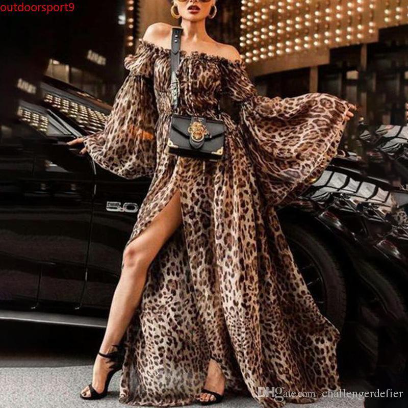 Nuovo Off spalla Lady Frock che scorre vestiti allentati della Boemia Tromba manica lunga Leopard Dress per la donna