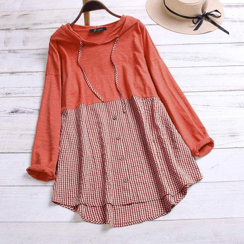 قمصان كم ربيع تحقق المرقعة بلوزة ZANZEA خمر عارضة منقوشة بلوزة المرأة مقنع القطن طويل Blusas قميص أنثى