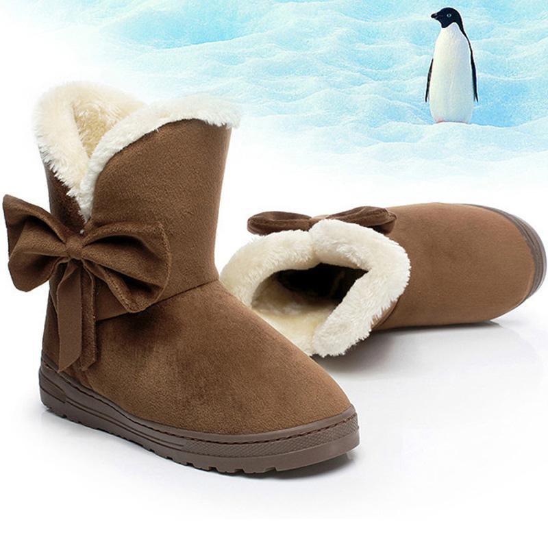 Mulheres neve botas botas de pele Botim Inverno Feminino Bowtie Warmer Plush Suede Borracha Plano mocassim Moda Plataforma Senhoras sapatos