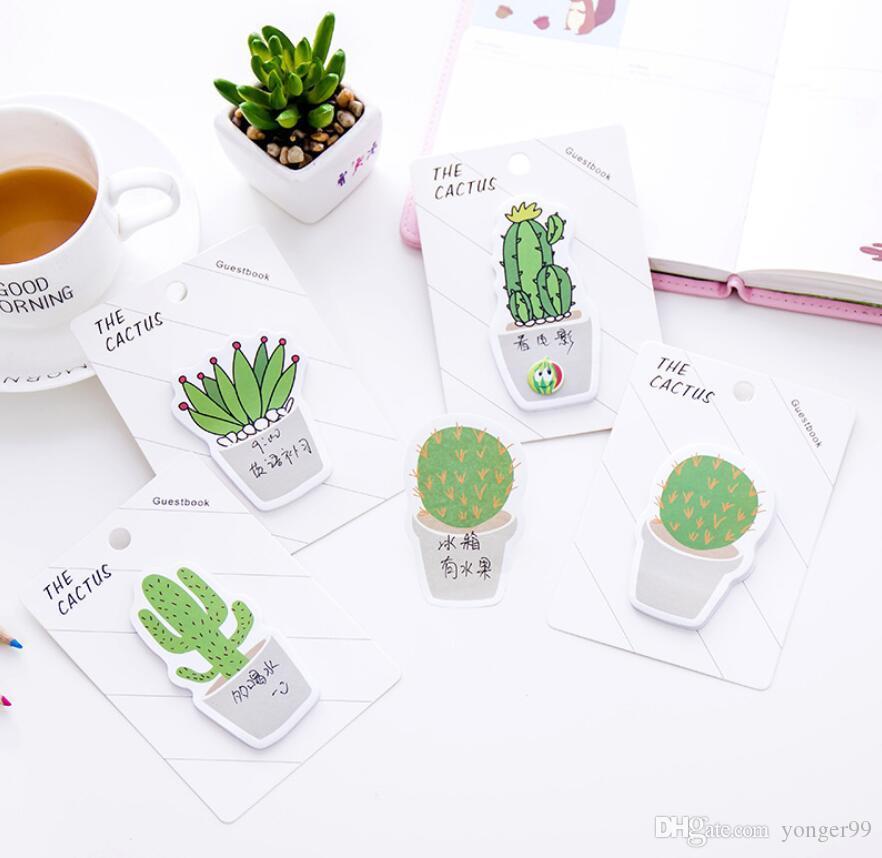 Kaktus Memo Pad Klebrige Hinweis Aufkleber Memo Buch Hinweis Papier N Sticker Schreibwaren Büro Zubehör Schulbedarf Freies Schiff JSJVs