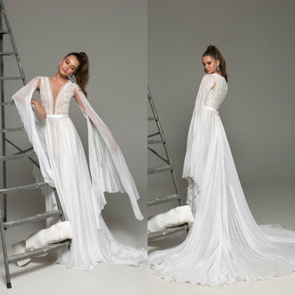 2019 Пляж Свадебные платья кружева аппликация Глубокий V шеи мантий линия Boho свадебное платье с длинными рукавами Vestidos De Novia Страна Люкс