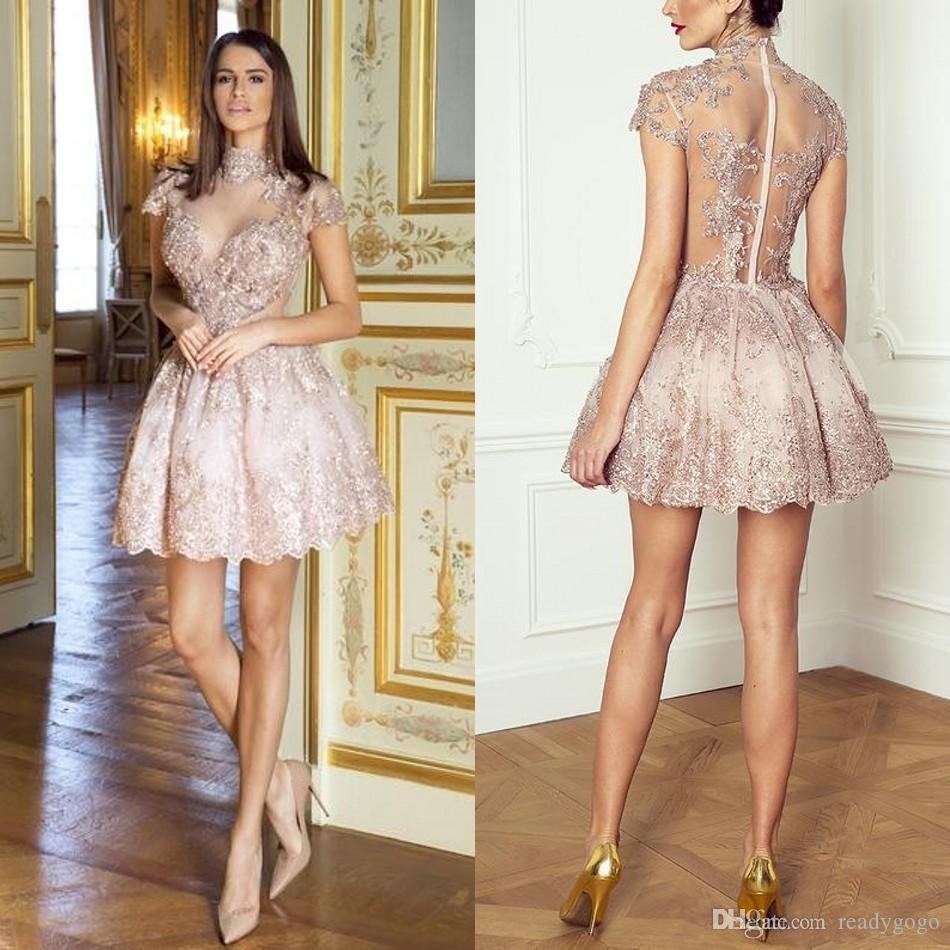 사랑스러운 홍당무 핑크 볼 가운 짧은 칵테일 드레스 높은 목 짧은 소매 장식 조각 구슬 시스루 중동 동창회 가운