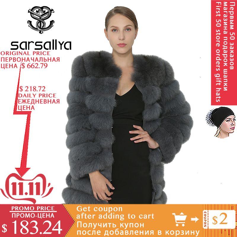 Gerçek Fox Kürk Kadınlar Doğal Gerçek Kürk Ceket Parka Yelek Kış Vizon Coat Fox Kürk Dış Giyim Kadın Kadın Giyim V191114