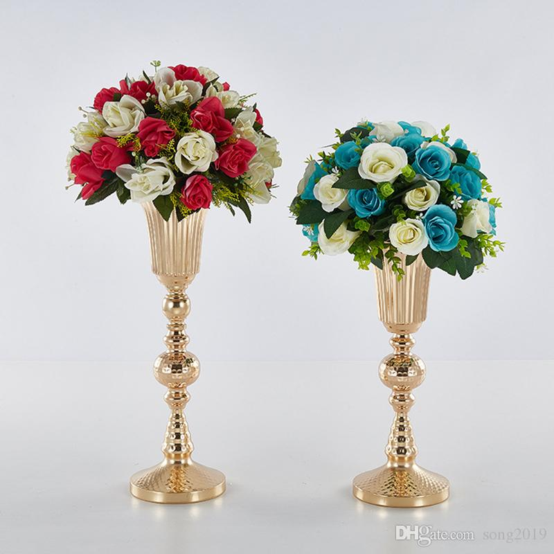 الذهب المزهريات طريق الرصاص الاصطناعي زهرة وعاء زهرة عمود حامل يرتكز الجدول الزفاف لعيد الميلاد ديكور المنزل