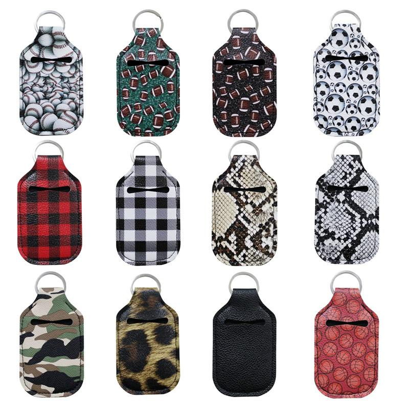Camo Red and Black Hand Sanitizer Key Ring Holder with 30ml Bottle