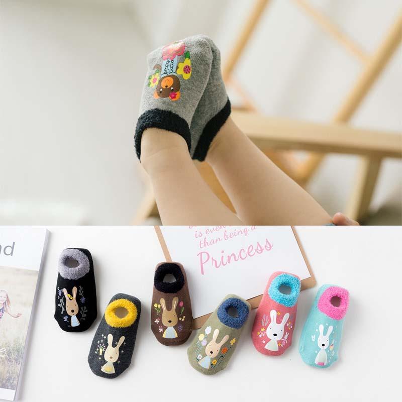 Cotone ragazze dei neonati dei calzini di gomma calzini pavimento del fumetto infante calzini rana del maiale animale cane orso antiscivolo 0-4 anni