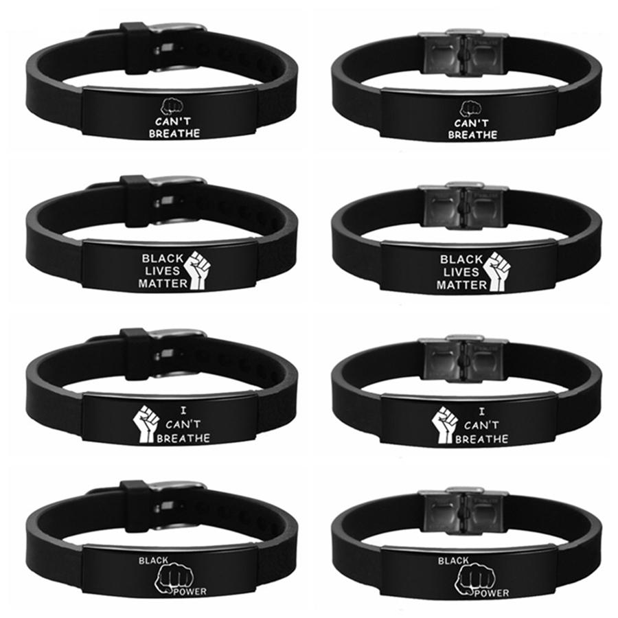 I CAN'T BREATHE Bracelet Black Lives Matter Stainless Steel Silicone Bangles Adjustable Bracelets 8 Styles LJJO8087