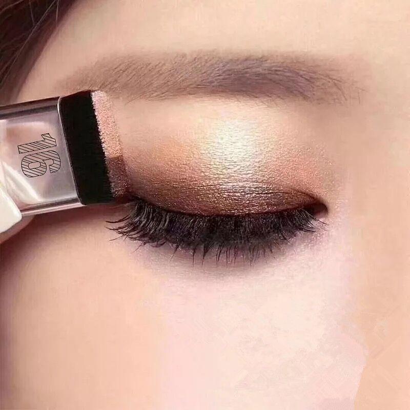 Preguiçoso dobro da cor Sombra Diamante Shimmer Sombra Maquiagem à prova d'água Mineral Pó de camada dupla Glitter Sombra