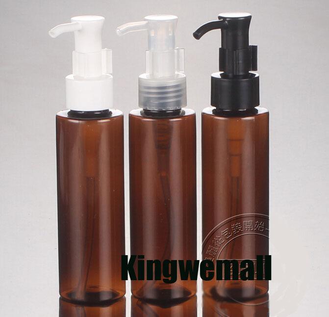 300pcs / lot 100 ml bouteille PET Ambre crème, 100 ml Flacon pompe à huile, 100 ml contenant cosmétique Brown, l'emballage cosmétique