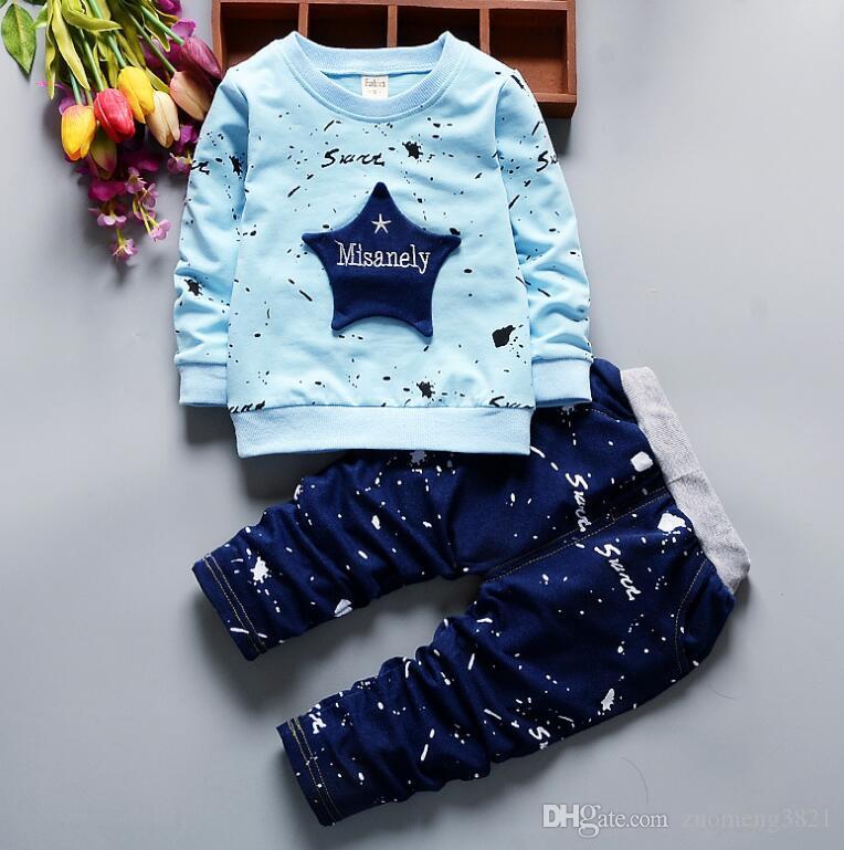 Nuovo Abbigliamento bambini set di molle bambino di autunno Bambini Imposta a maniche lunghe T Shirt + Cotton Stelle Boy Tute per bambini Tute pantaloni Shipp libero
