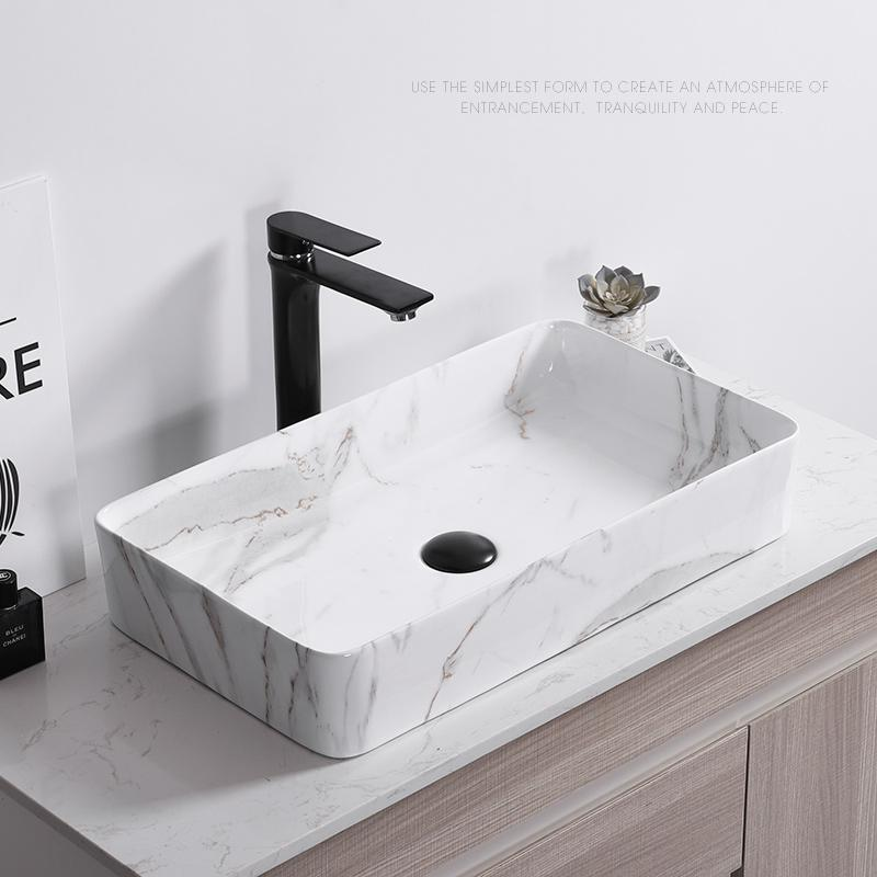Nordic Simple Marble Pattern Art Above Counter Wash Basin Home Toilet Ceramic Bathroom Vessel Sink Square Washbasin Faucet
