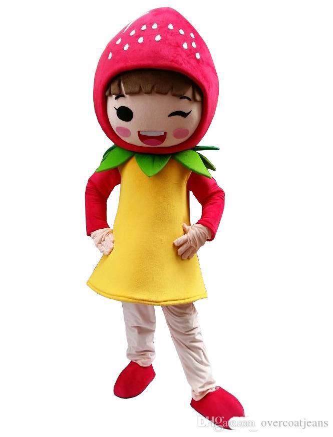 Morango da fruta menina traje Da Mascote Dos Desenhos Animados Personagem Adulto trajes da mascote para a festa de Halloween