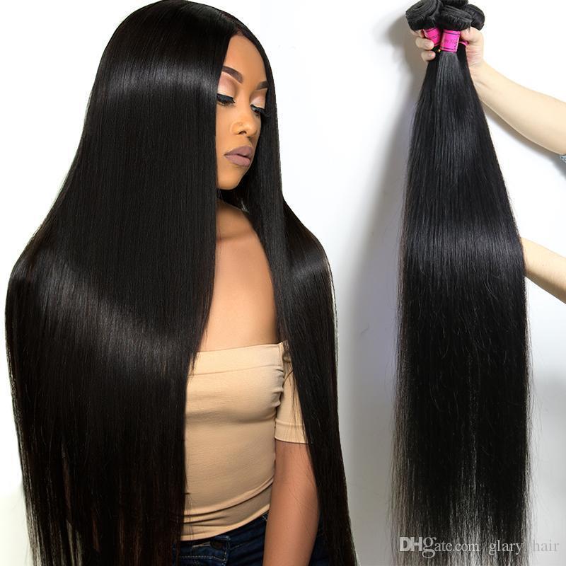 الشعر البكر البرازيلي 30 32 34 36 40 بوصة حزم مستقيمة موجة جسم الإنسان الشعر ينسج الماء الموجات العميقة شعر الإنسان
