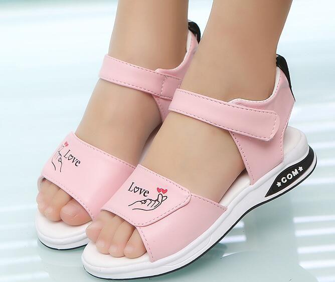 2019 fashion brand designer summer new Korean letter N girls sandals baby kids princess shoes