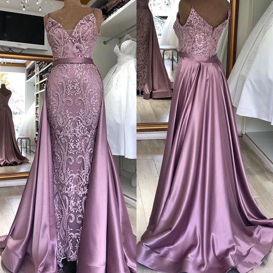2020 nueva llegada de Zuhair Murad púrpura vestidos de noche con cristales desmontables tren Beadings sin respaldo formal del vestido de los vestidos de noche de baile