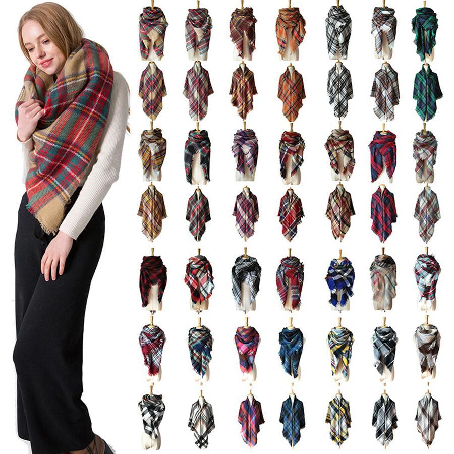 Winter Triangle Scarf Tartan Cashmere Scarf Women Plaid Blanket Scarf New Designer Acrylic Basic Shawls Women's Scarves Wraps Gifts RRA