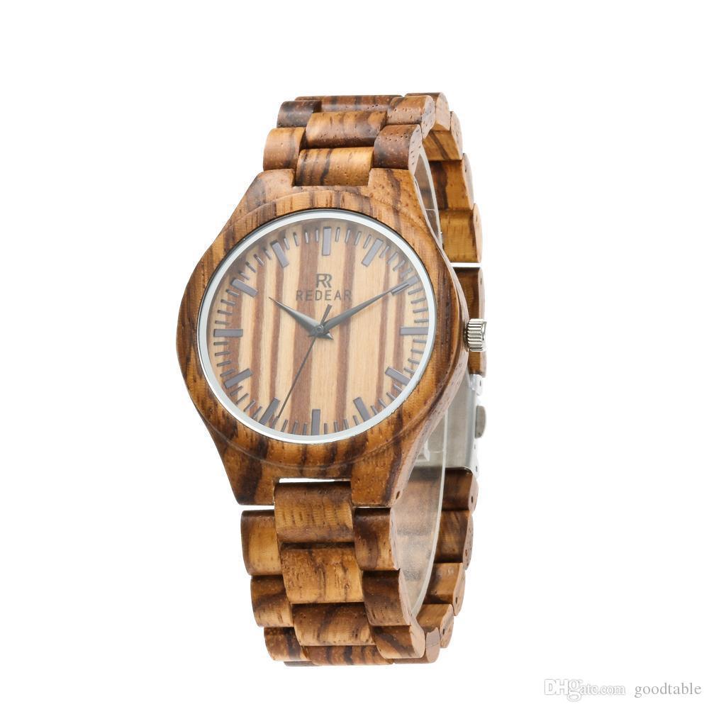 Cebra de madera reloj reloj de cuero genuino estilo caliente fuente reloj de madera
