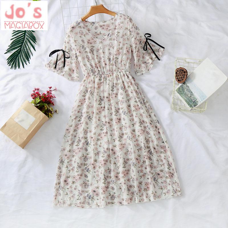 Bifast Women Summer Vintage Print Deep V Neck High Low Long Dresses