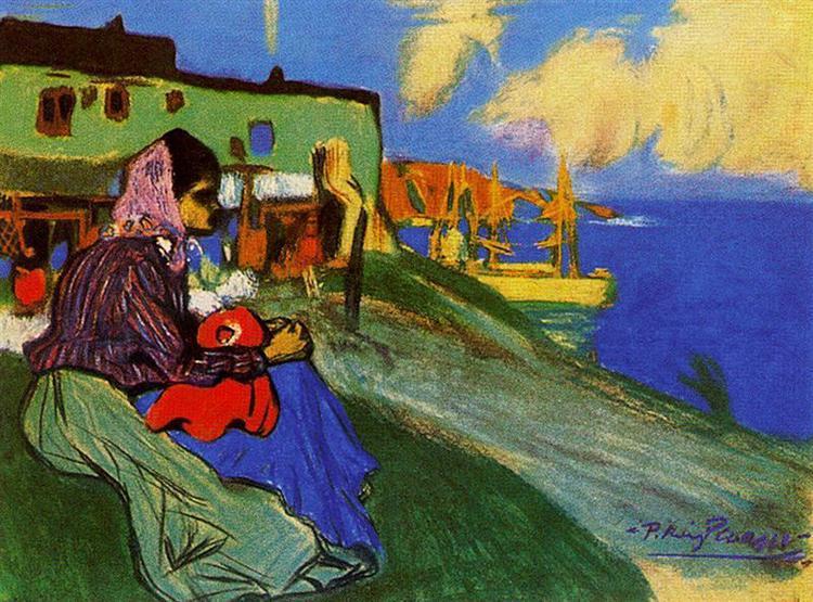Pablo Picasso Classical Gypsy pintura a óleo na frente do Musca 100% Handmade pelo pintor experiente On White Canvas Picasso310