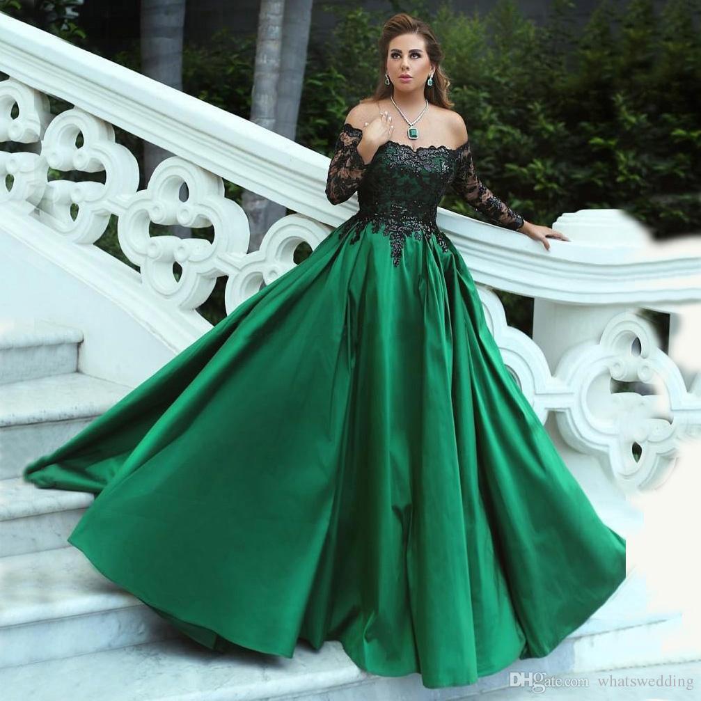 Großhandel Grün Und Schwarz Ballkleid Abendkleider 12 Schulterfrei  Langarm Pailletten Spitze Satin Plus Size Abendkleider Abendkleider Von