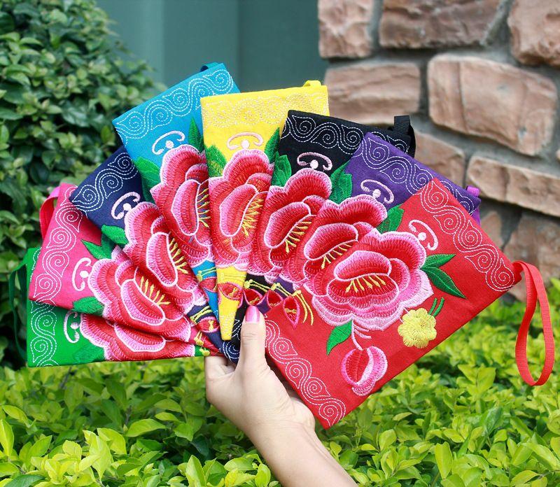 50pcs Embroidered Wallet Purse Handmade Boho Ethnic Flowers Women National Long Wallet