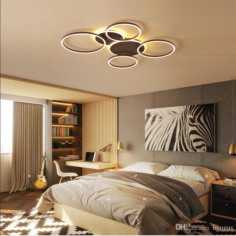 Nouveau salon pendentif moderne conduit chambre lumière lampe LED plafond acrylique personnalité anneau géométrique lampe de plafond créatif AC 220 V