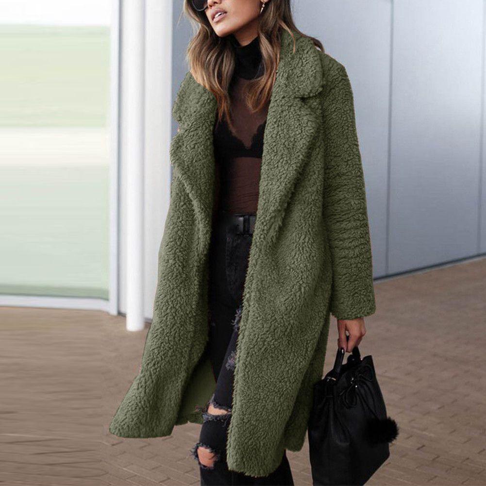 Women Outwear Warm Cardigan Autumn Winter Trench Long Sleeve Coat Lapel Ladies Artificial Fleece Jacket Solid Casual