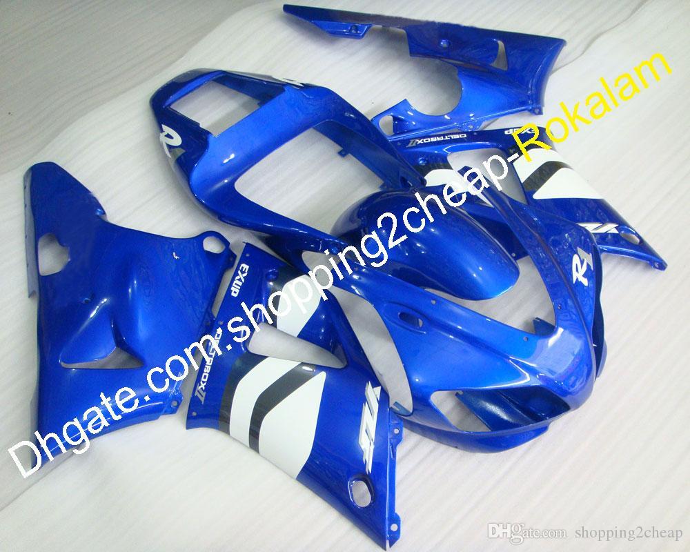Kit de carrocería azul blanco para Yamaha 1998 1999 YZF R1 YZF-R1 98 99 YZF1000 R1 Carenado de motocicleta (moldeo por inyección)