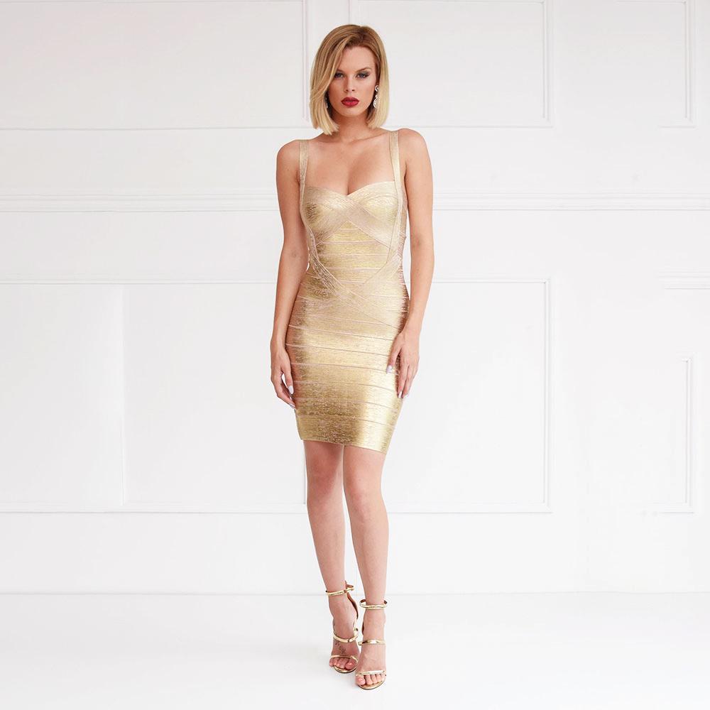 Metallic Gold Silver vestido bandagem elástica bainha Spaghetti Strap Mulheres Partido Foil Mini Curto Sexy vestido bandage