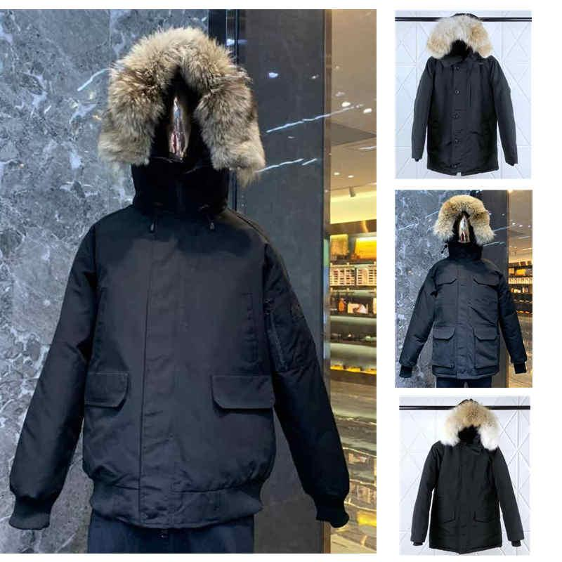 TOP Mens Parkas Jacket Fur Hooded Down Coat Budge Size Windbreaker Warm Men Zipper Thick Jackets Coat