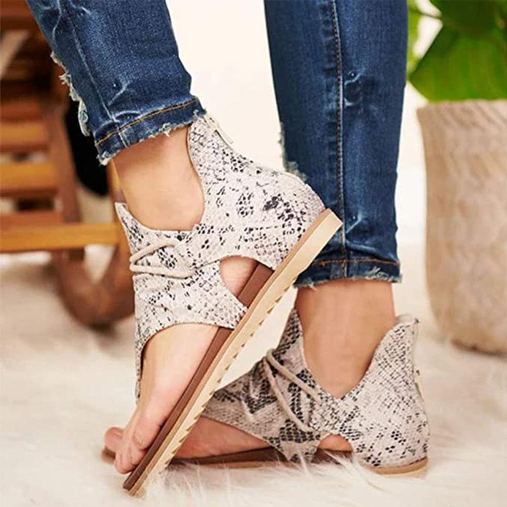 Verão Mulheres Sandals Pu Leather Platform animal print Plano peep toe moda casual Praia Senhoras sapatos Zapatos de mujer 03