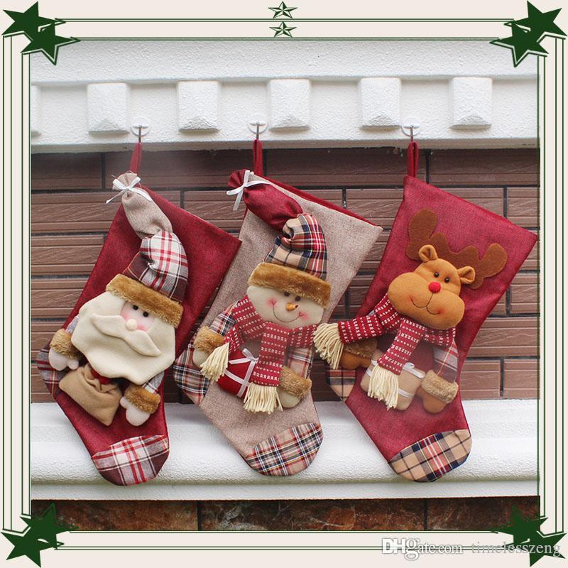 New Weihnachtsbaumschmuck Weihnachts ClausSnowmanDeer Weihnachtsstrümpfe Weihnachtsdekorationen für Hauptdekor 21pcs / LOT freies Verschiffen