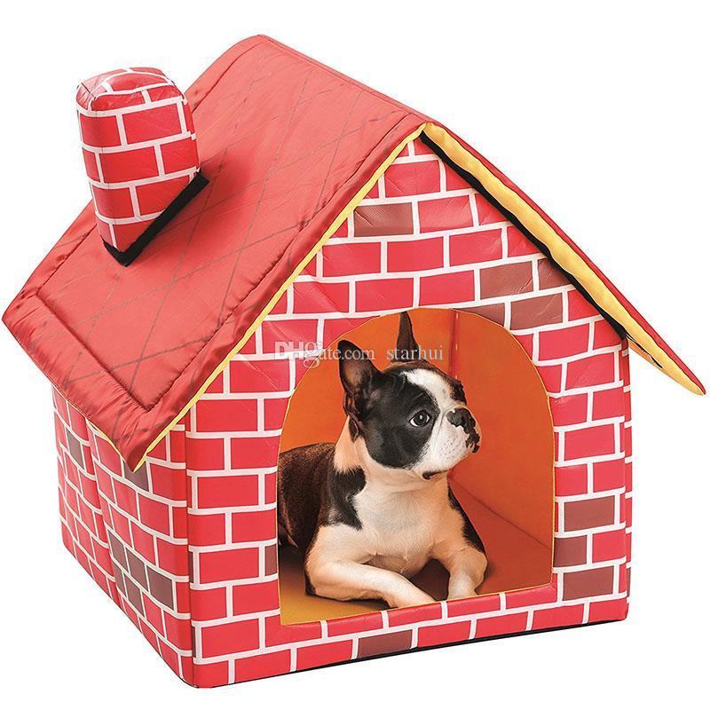 애완 동물 하우스 레드 사육 분리 접는 플랫 탑 개 주택의 둥지 접이식 휴대용 개 고양이 침대 강아지 강아지 애완 동물 WX9-1875 용품